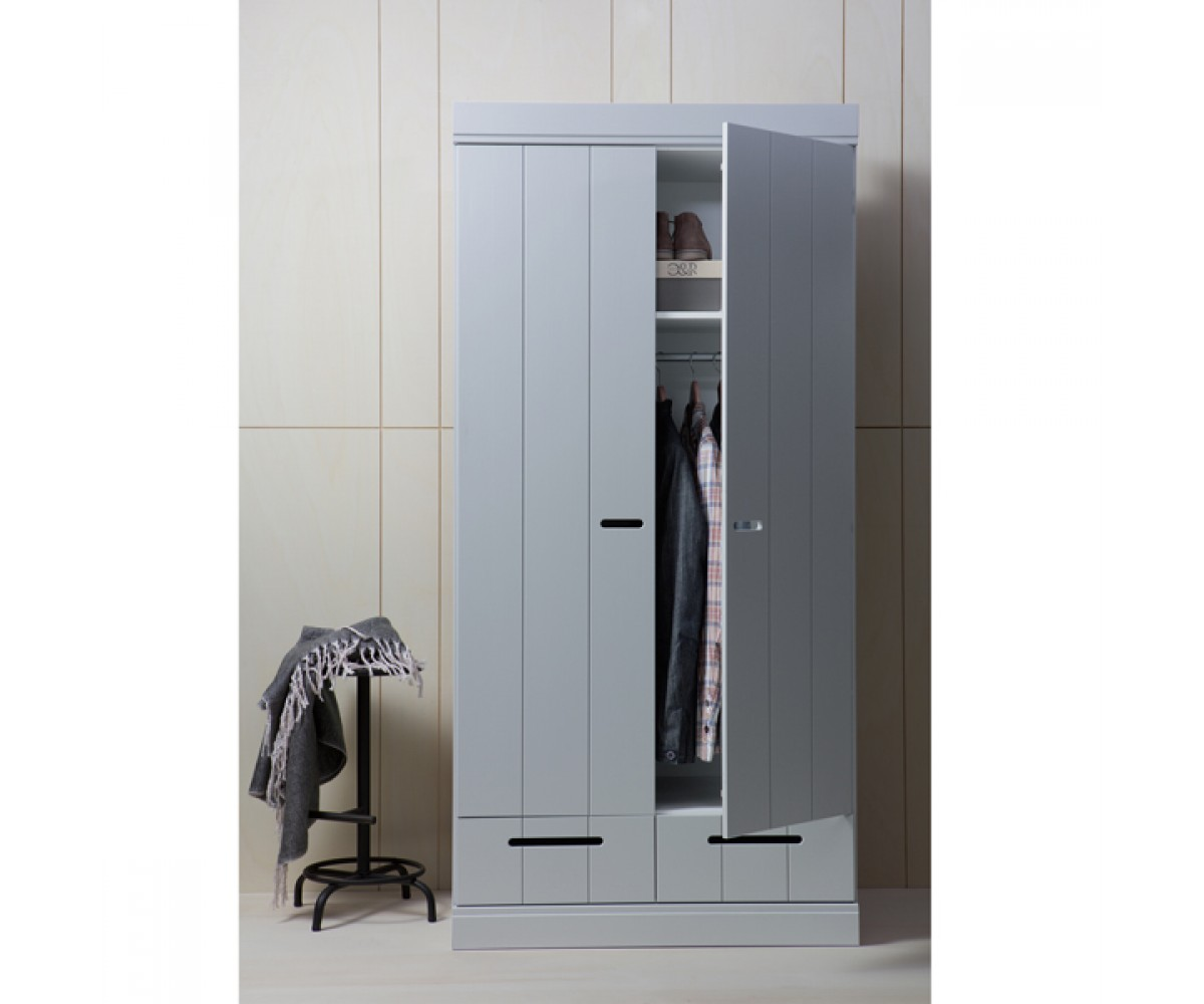 Kleiderschrank grau 2 Türen, Schrank grau aus Massivholz, Breite 94 cm