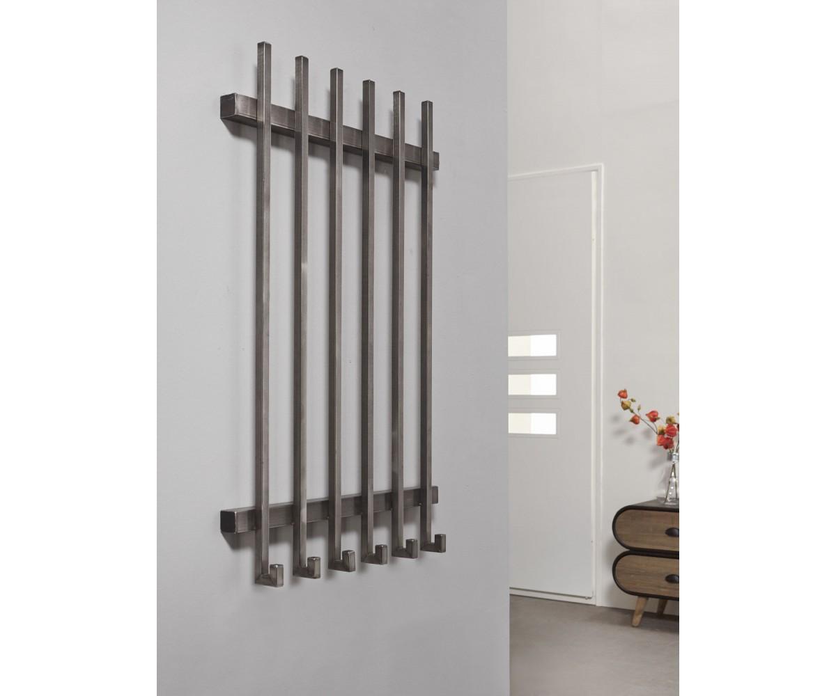 Wandgarderobe metall grau 6 haken garderobe grau metall for Breite garderobe
