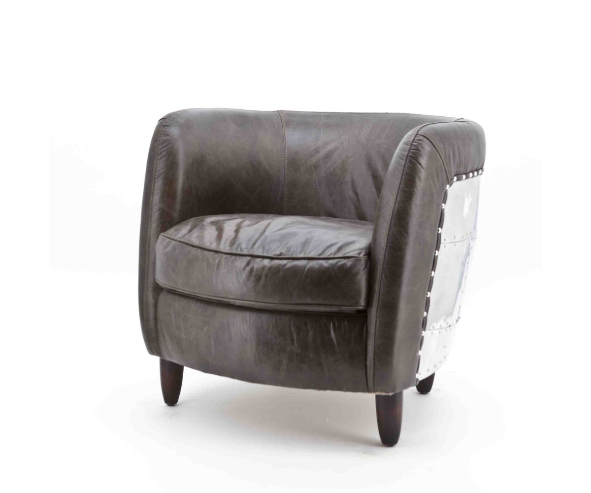 Sessel braun echtleder aluminium sessel im industriedesign for Sofa industriedesign