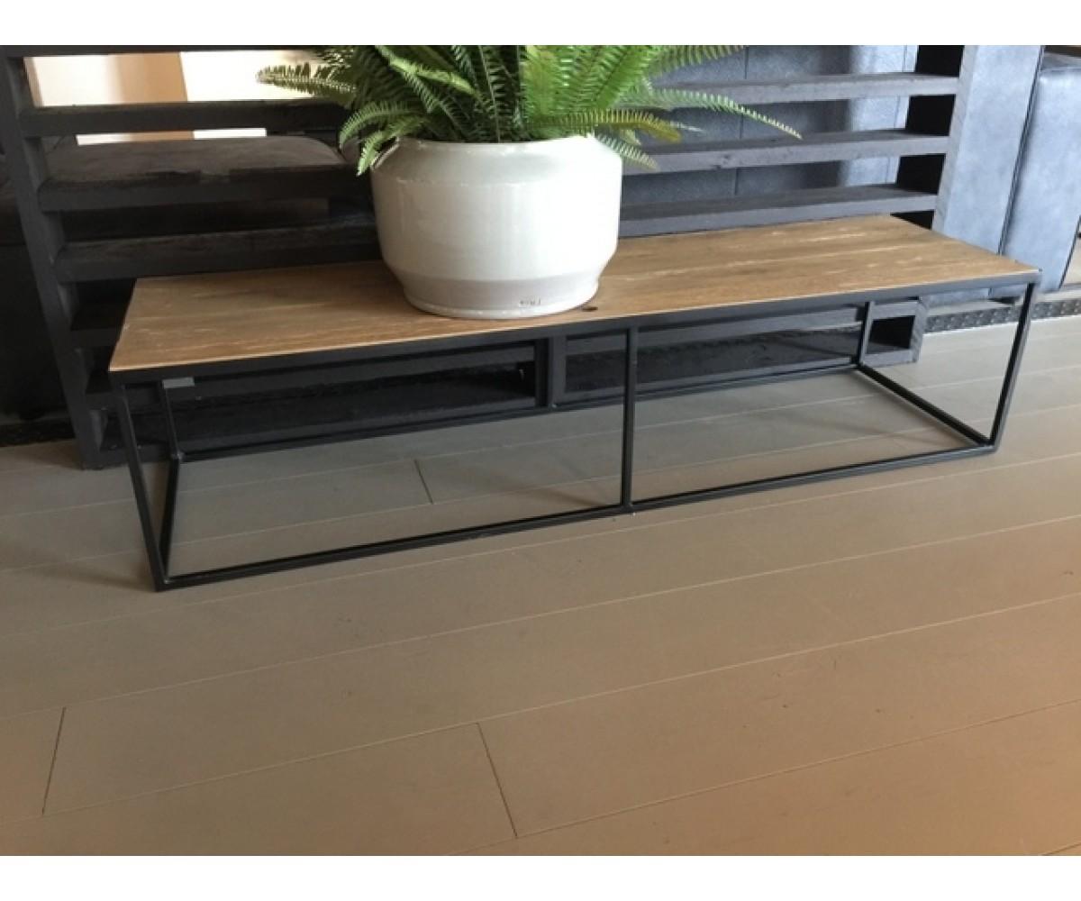Couchtisch metall holz  Couchtisch Metall-Holz, Tisch schwarz-braun, Breite 150 cm