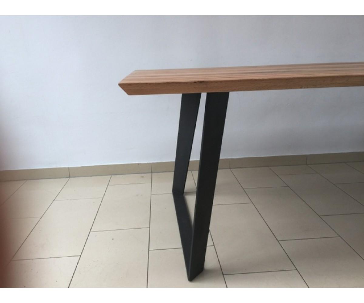 esstisch eiche tischplatte tisch massiv eiche tisch gestell metall ma e 220 x 100 cm. Black Bedroom Furniture Sets. Home Design Ideas