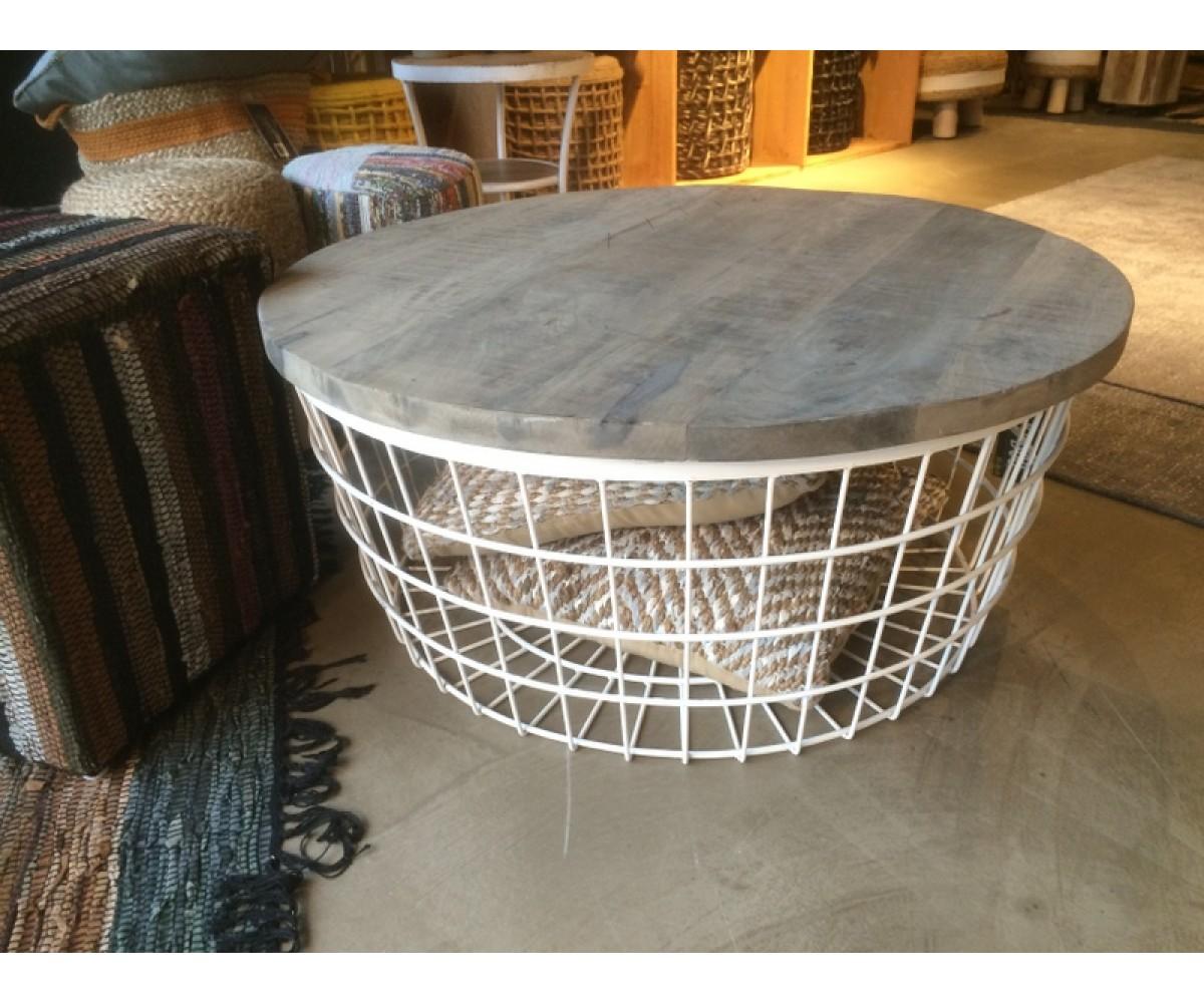 couchtisch korb beistelltisch metall industriedesign. Black Bedroom Furniture Sets. Home Design Ideas