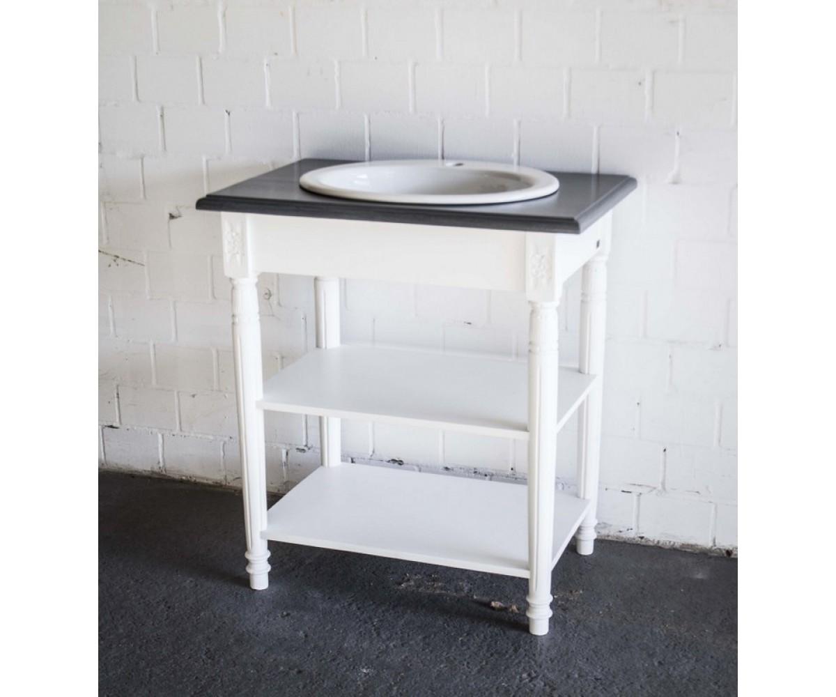 waschtisch grau wei im landhausstil badm bel wei. Black Bedroom Furniture Sets. Home Design Ideas