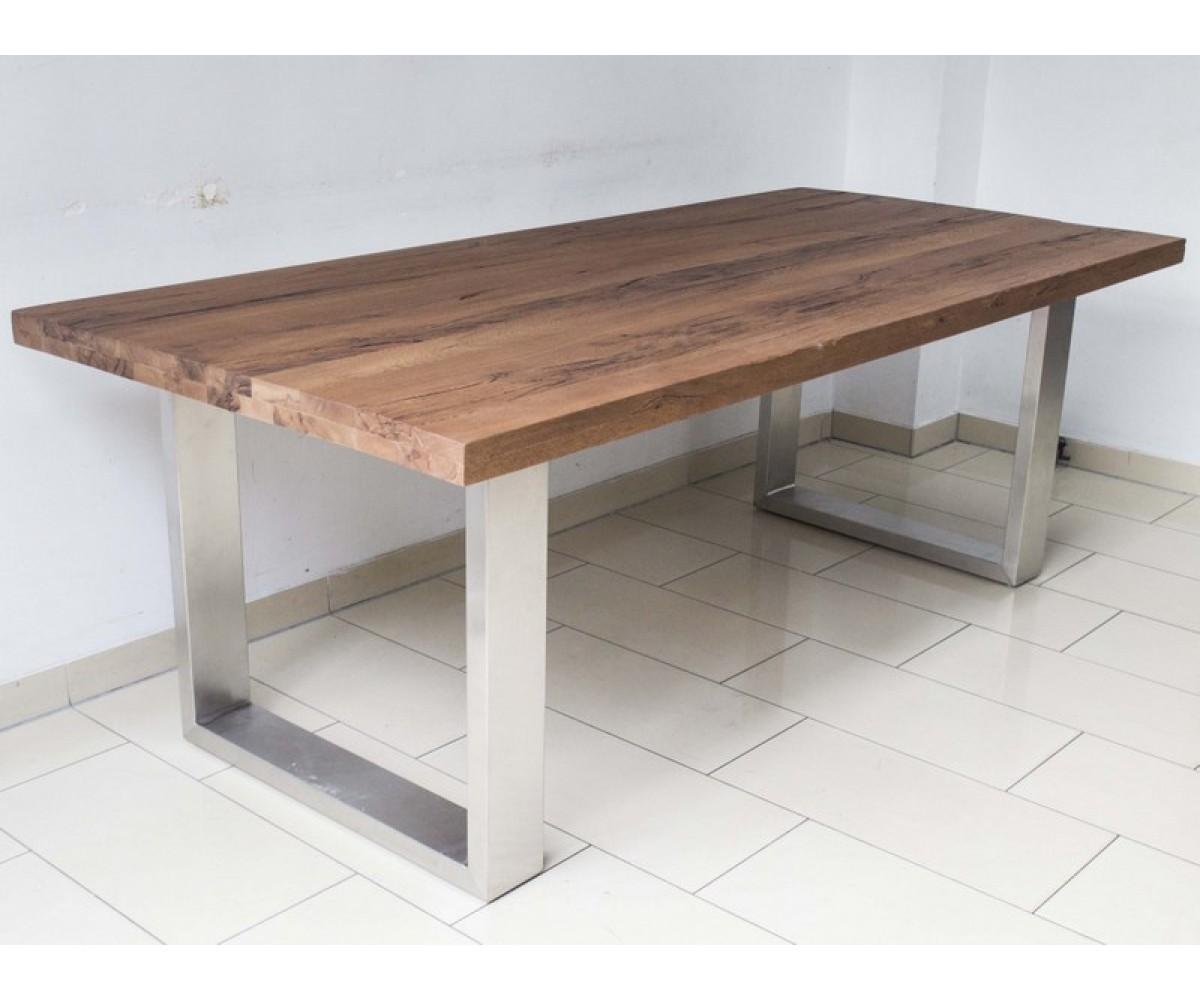 esstisch eiche massiv tisch gestell aus metall ma e 180 x 100 cm. Black Bedroom Furniture Sets. Home Design Ideas