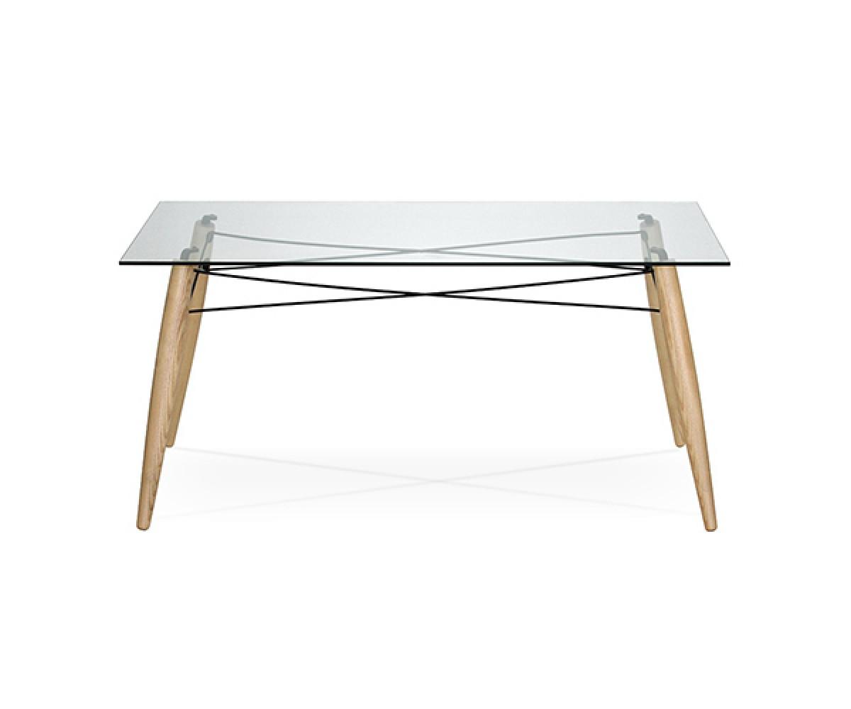 Tisch holz tischbeine esstisch glas tischplatte tisch for Tisch glas holz
