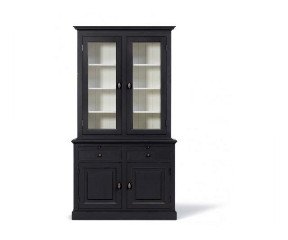Vitrine schwarz geschirrschrank schwarz wei wohnzimmerschrank im landhausstil breite 128 cm - Wohnzimmerschrank schwarz ...