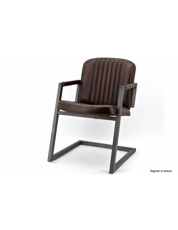 Freischwinger Stuhl Braun Industriedesign, Stuhl Leder Metall Braun