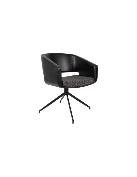 Design Stuhl Mit Armlehne Schwarz Drehbar