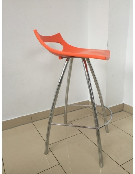 Barhocker Orange orange barstuhl orange verchromtes gestell sitzhöhe 65 cm