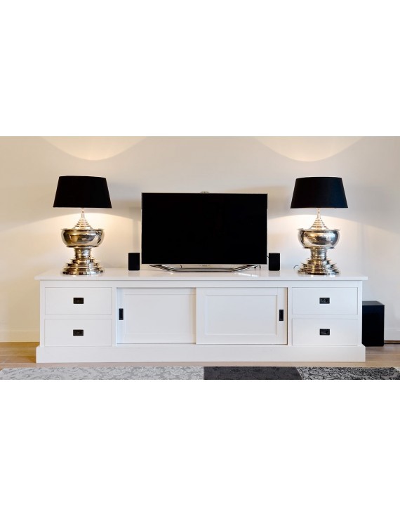 tv schrank wei lowboard wei mit schiebet ren sideboard landhaus massivholz breite 250 cm. Black Bedroom Furniture Sets. Home Design Ideas