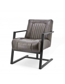 Sessel Metall, Echtleder mit Armlehne, Sessel Industriedesign