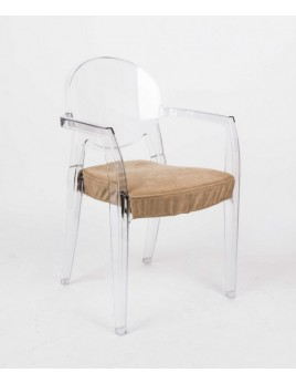 Design Stuhl transparent mit Armlehne und Sitzkissen