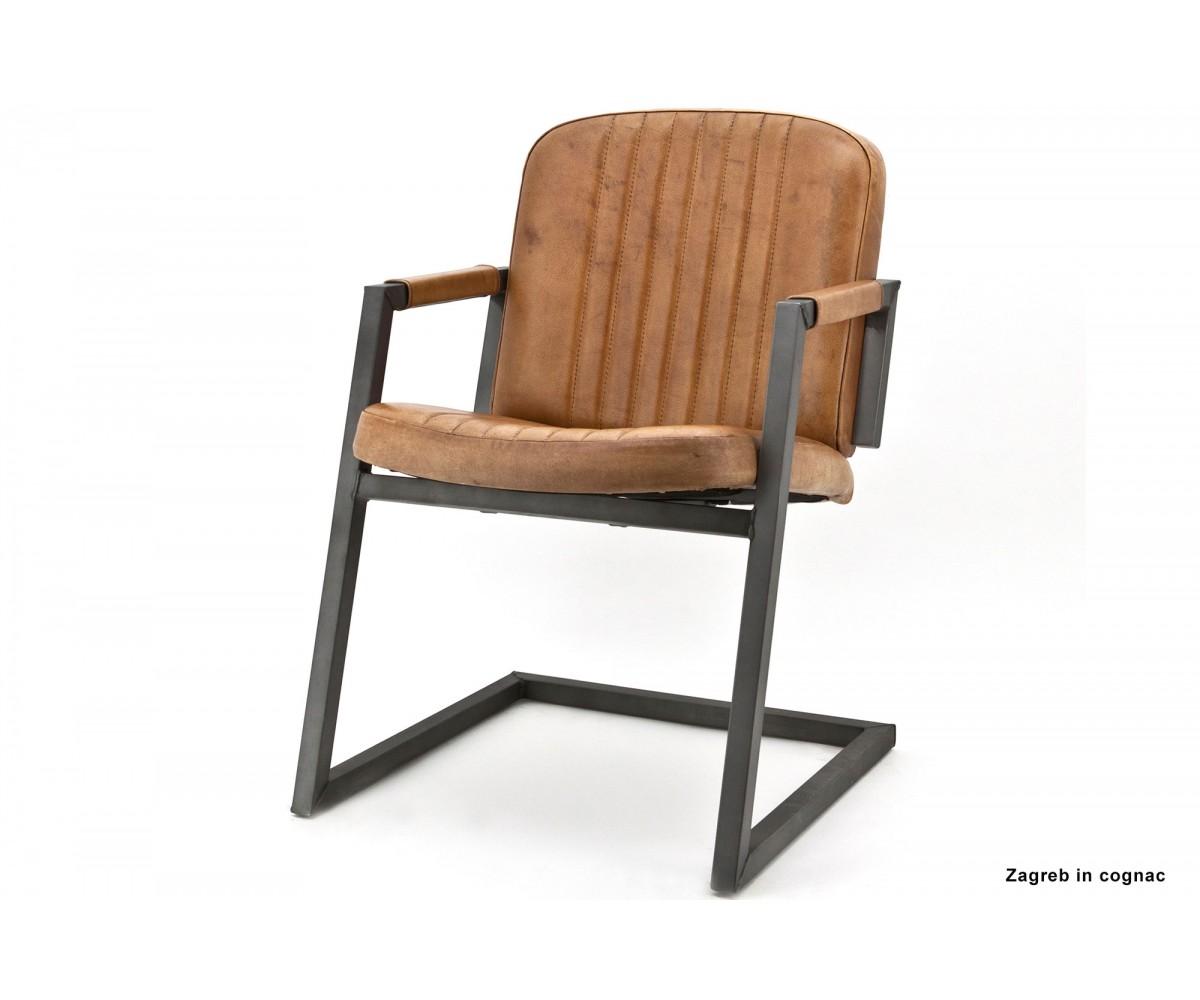 Freischwinger stuhl cognac industriedesign stuhl leder metall cognac - Stuhl leder cognac ...