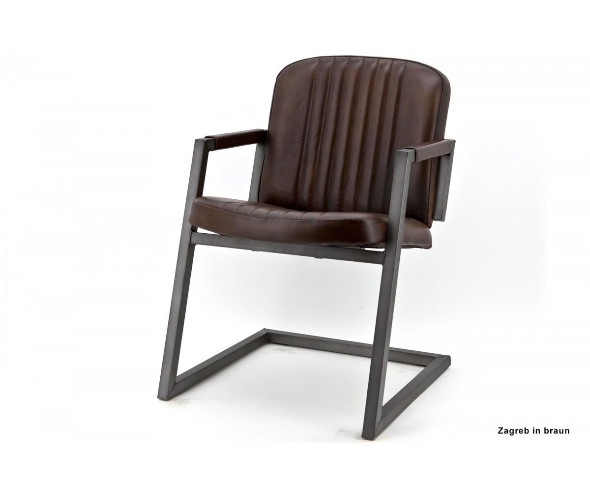 Freischwinger Stuhl Braun Industriedesign Stuhl Leder