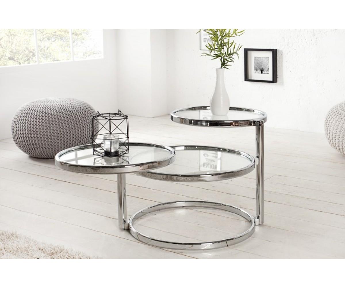 Großartig Beistelltisch Rund Glas Referenz Von Glasplatte Metall, Couchtisch Glas-metall Silber, Durchmesser 55