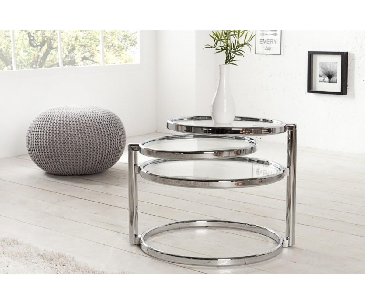 Beistelltisch Rund Glasplatte Metall Couchtisch Glas Metall Silber