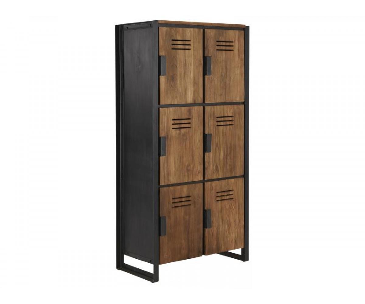 schrank im industriedesign kleiderschrank mit sechs t ren aus metall und holz breite 80 cm. Black Bedroom Furniture Sets. Home Design Ideas