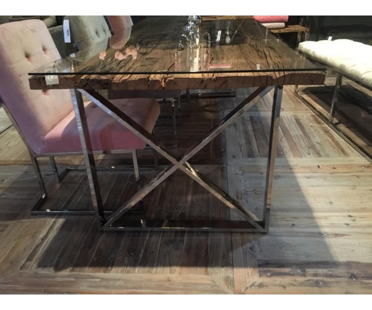 esstisch tischplatte aus altholz mit glasplatte tisch massivholz im landhausstil lange 240 cm
