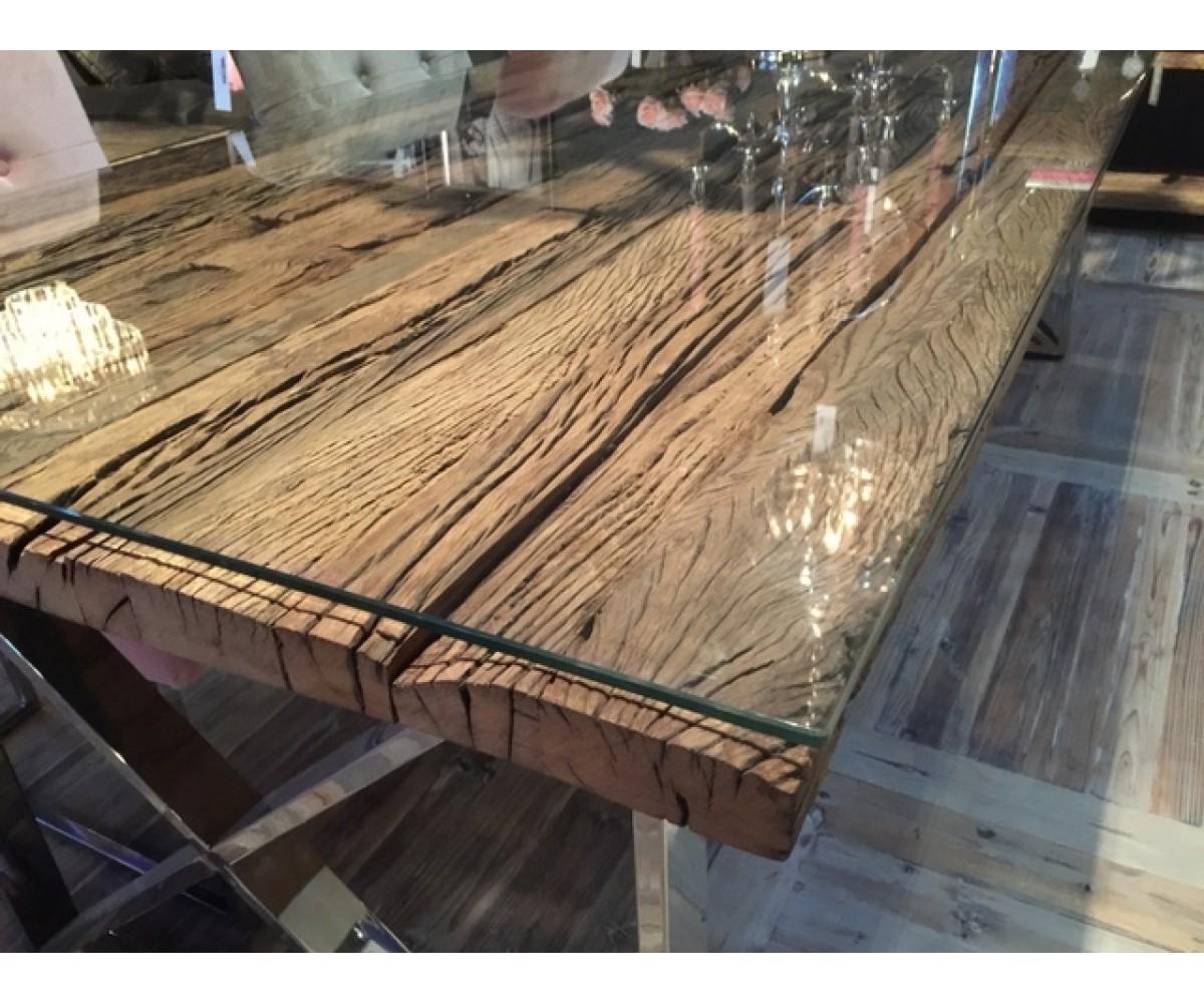 Esstisch Tischplatte Aus Altholz Mit Glasplatte, Tisch