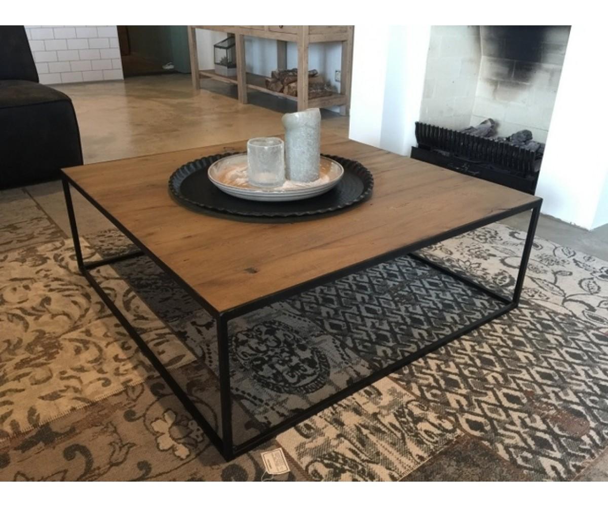 Couchtisch metall holz tisch schwarz braun ma e 100x100 cm for Couchtisch 100 x 50