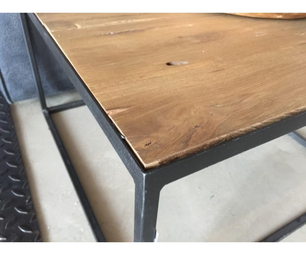 Couchtisch Metall Holz Tisch Schwarz Braun Masse 60x60 Cm