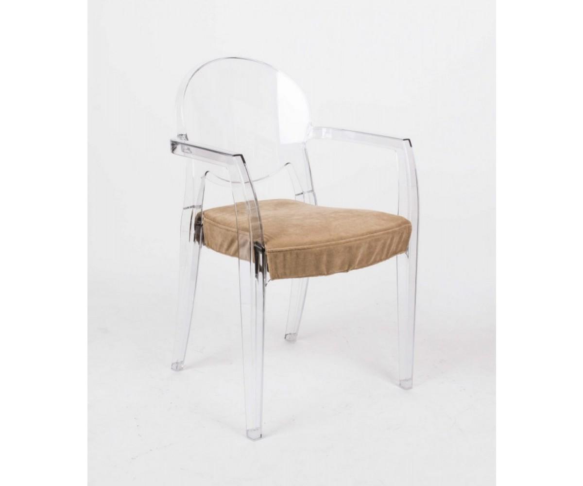design stuhl transparent mit armlehne und sitzkissen. Black Bedroom Furniture Sets. Home Design Ideas