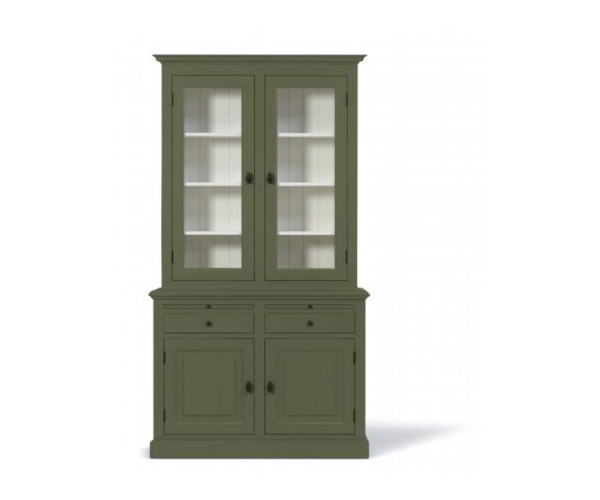 Vitrine grün, Geschirrschrank grün-weiß, Wohnzimmerschrank im
