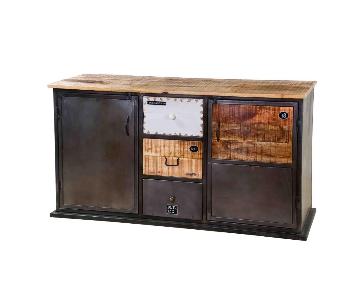 Sideboard Metall Industrie Kommode Industriedesignmetall Holz