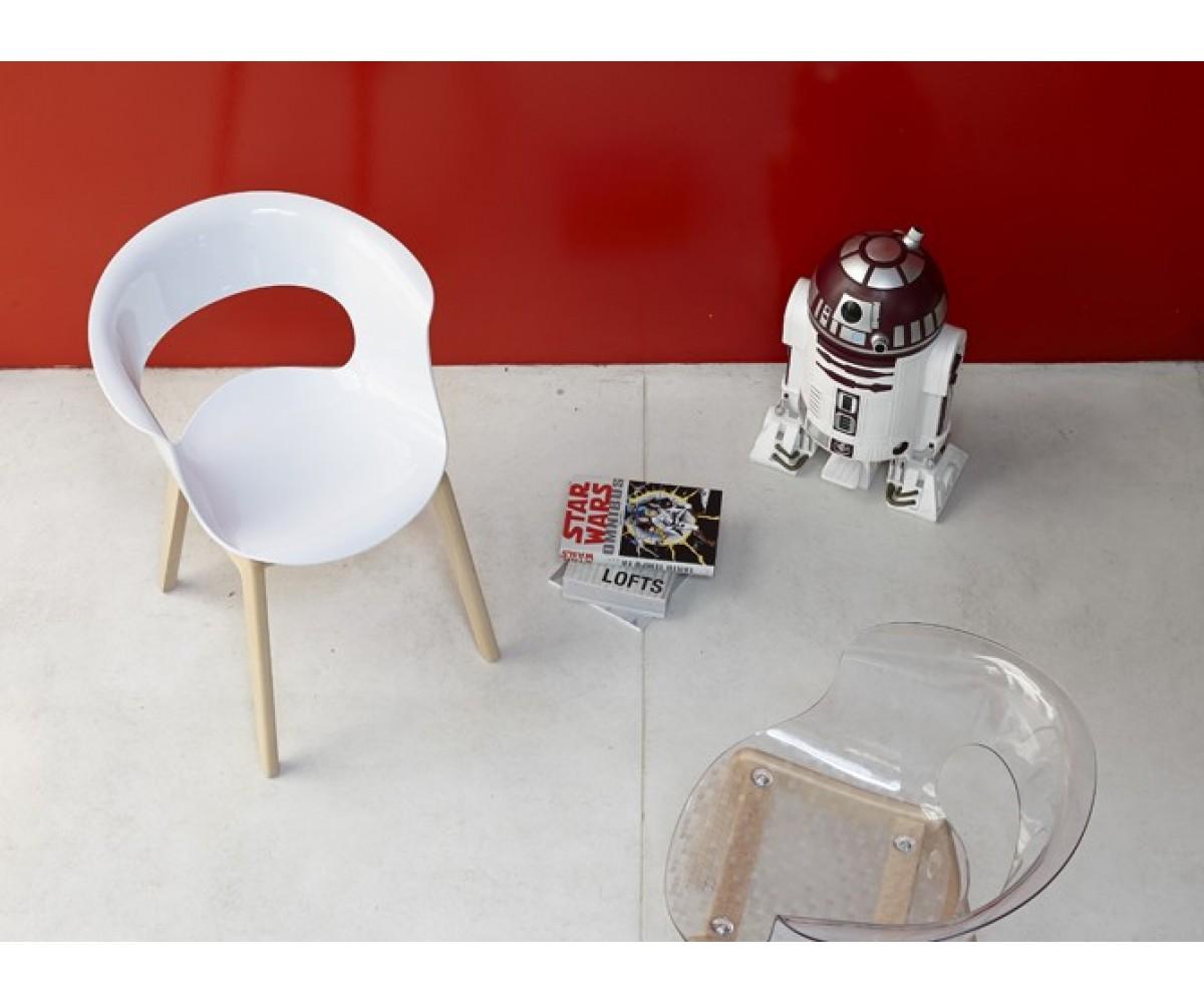 Stuhl Natural Aus Kunststoff Holz Mit Armlehne Transparent Grau