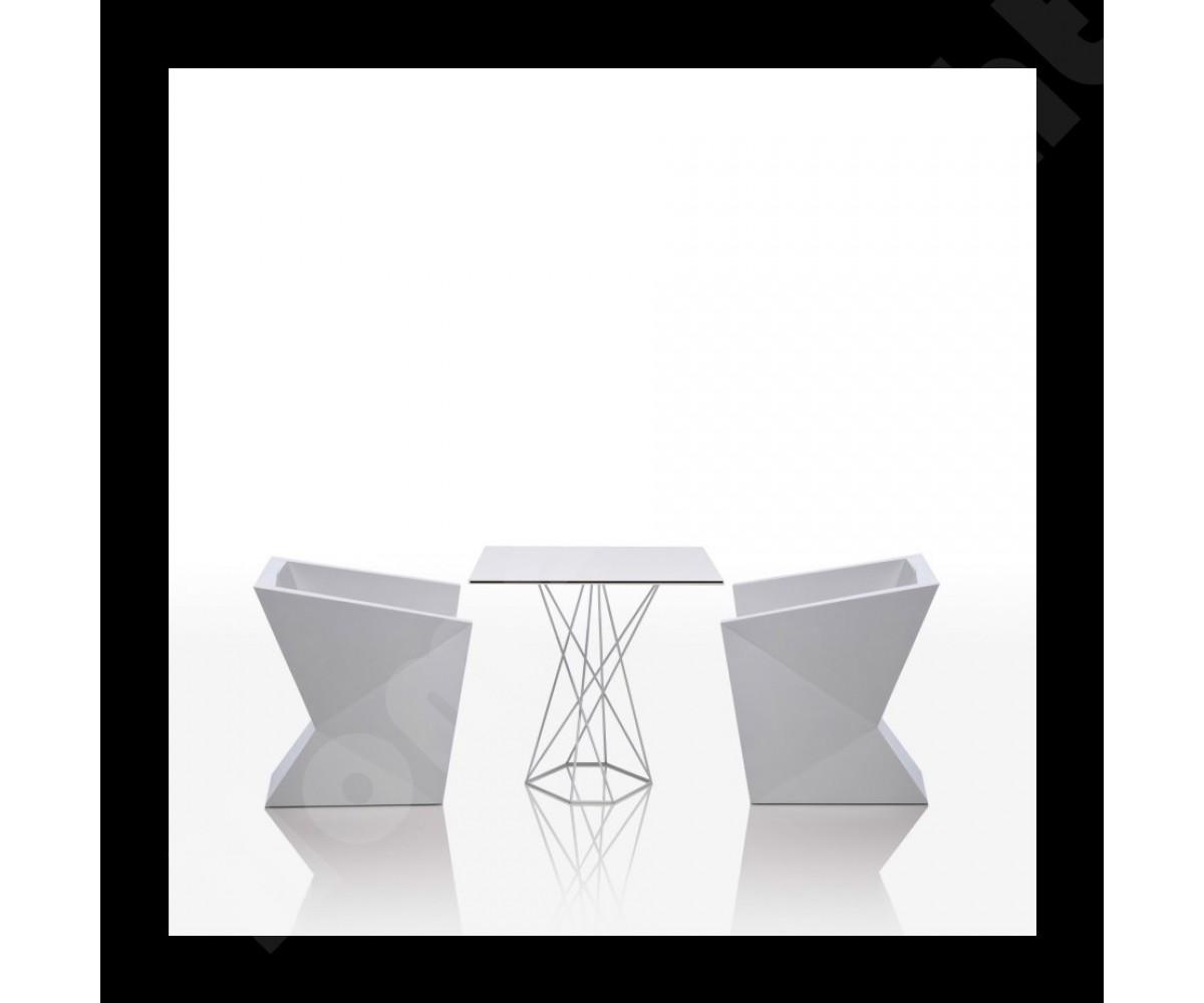 Design tisch wei metall esstisch modern wei ma e 80x80 cm for Designer tisch weiss