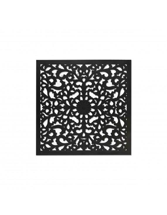 Wandbild Ornament schwarz, Bild-Ornament, Maße 90x90 cm