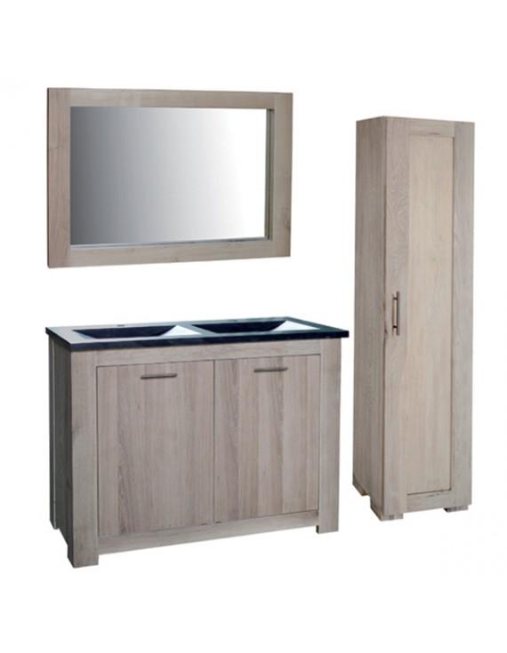 badezimmer set 4 teilig doppelwaschtisch mit badezimmerschrank und spiegel bad m bel set. Black Bedroom Furniture Sets. Home Design Ideas