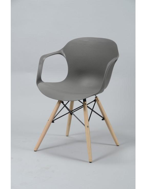 Stuhl Grau Design Kunststoff Holz