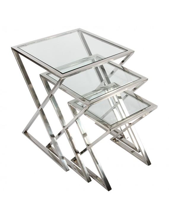 Beistelltische Metall Silber 3er Set Beistelltisch Glas Metall