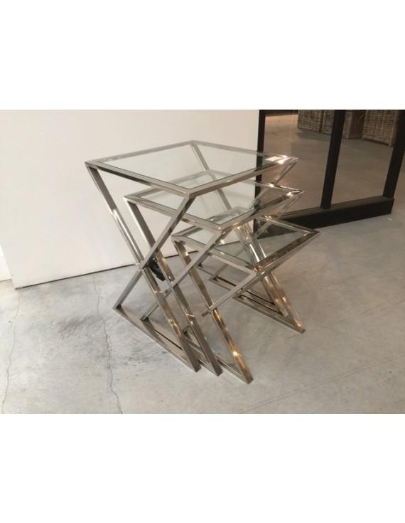 Beistelltisch Metall Silber 3er Set Beistelltisch Glas Verchromt