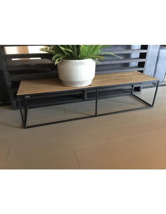 couchtisch metall holz tisch schwarz braun breite 150 cm. Black Bedroom Furniture Sets. Home Design Ideas