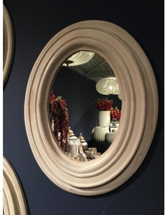 Spiegel rund Holz, Wandspiegel rund Massivholz, Durchmesser 120 cm