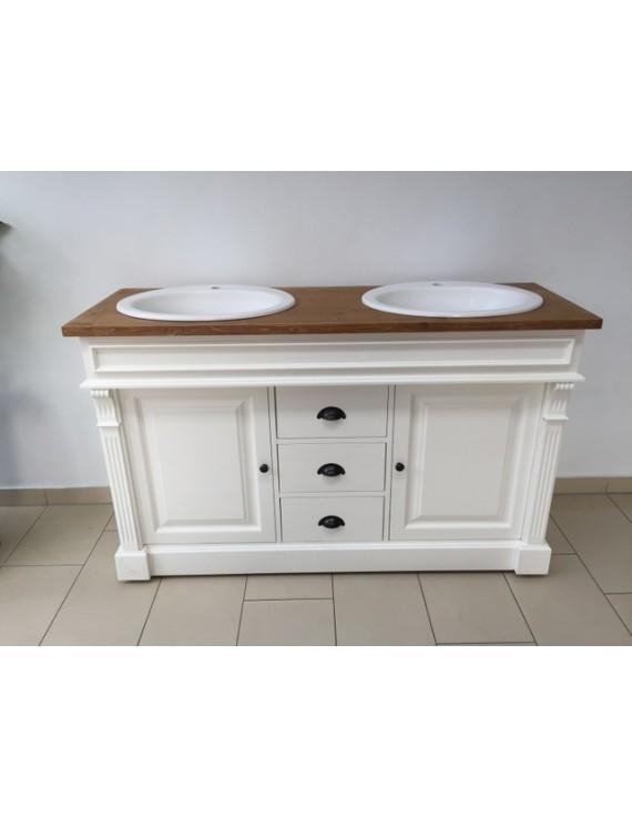 Waschtisch weiß-braun Massivholz, Waschtisch im Landhausstil ...