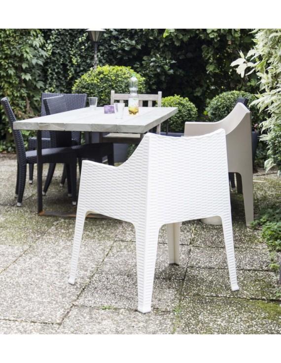 Outdoor Stuhl Weiss Mit Armlehne Gartenstuhl Weiss Aus