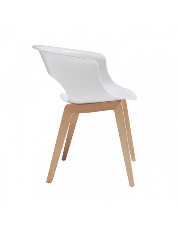 Stuhl Natural Aus Kunststoff Holz Mit Armlehne Weiss
