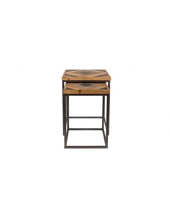 Beistelltische 2er Set Holz Tischplatte Beistelltisch Landhaus