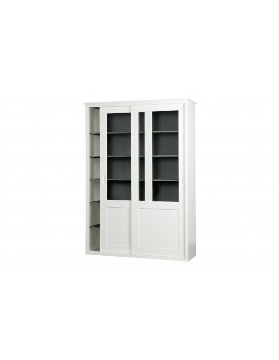 Vitrinenschrank weiß, Geschirrschrank weiß Landhaus, Vitrine weiß Schiebetüren, Breite 147 cm