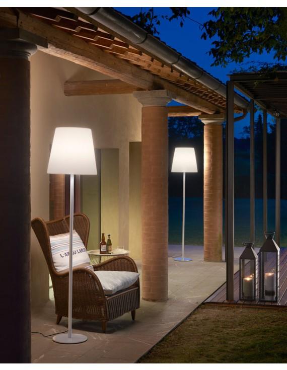 Garten Stehleuchte Aus Kunststoff Outdoor Stehlampe Weiss Hohe 185 Cm