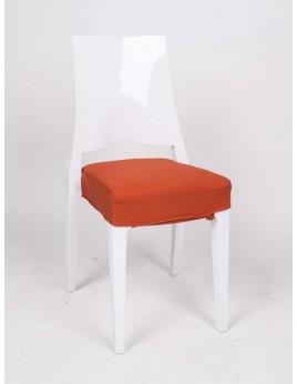 Stuhl weiß mit Sitzkissen, Outdoor Stuhl aus Kunststoff weiß
