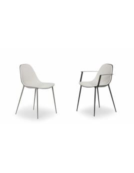 Stuhl weiß mit Armlehne, Designstuhl aus Aluminium, Gartenstuhl In- und Outdoor geeignet