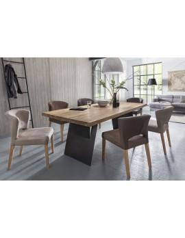 Esstisch Eiche massiv, Tischbeine Metall schwarz, Tisch Tischplatte Eiche, Maße 200 x 100 cm