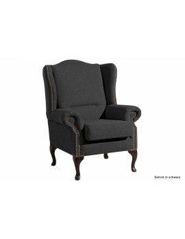 Ohrensessel klassisch Leinenoptik, Sessel Farbe schwarz