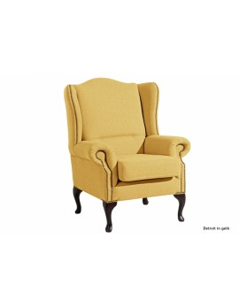 Ohrensessel klassisch Leinenoptik, Sessel Farbe gelb
