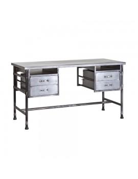 Schreibtisch aus Metall, Industriestyle, 4 Schubladen, Breite 140 cm