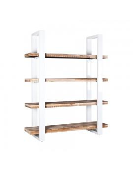 Bücherregal im Industriestyle aus Holz/Metall in weiß, Breite 160 cm